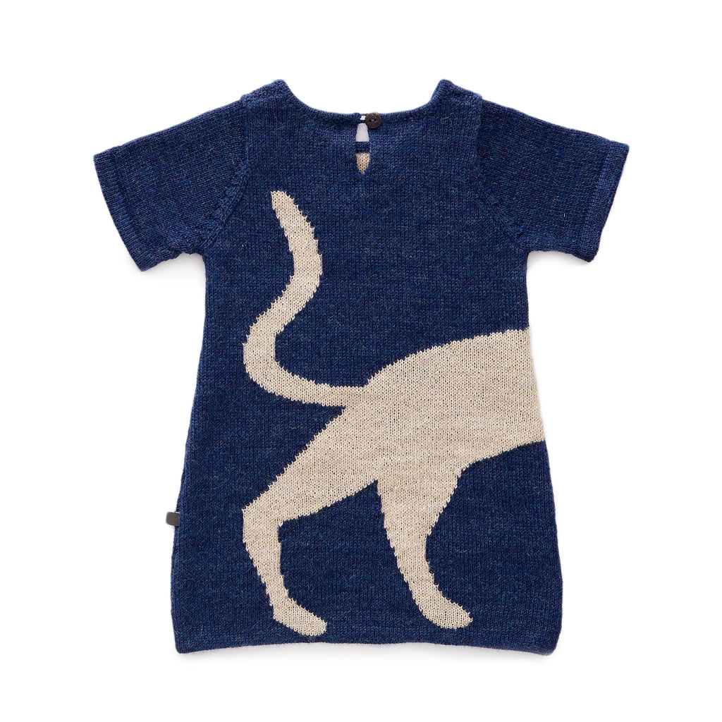 Cat Dress Knit blue dress with signature Oeuf cat. Made from 100% alpaca wool.