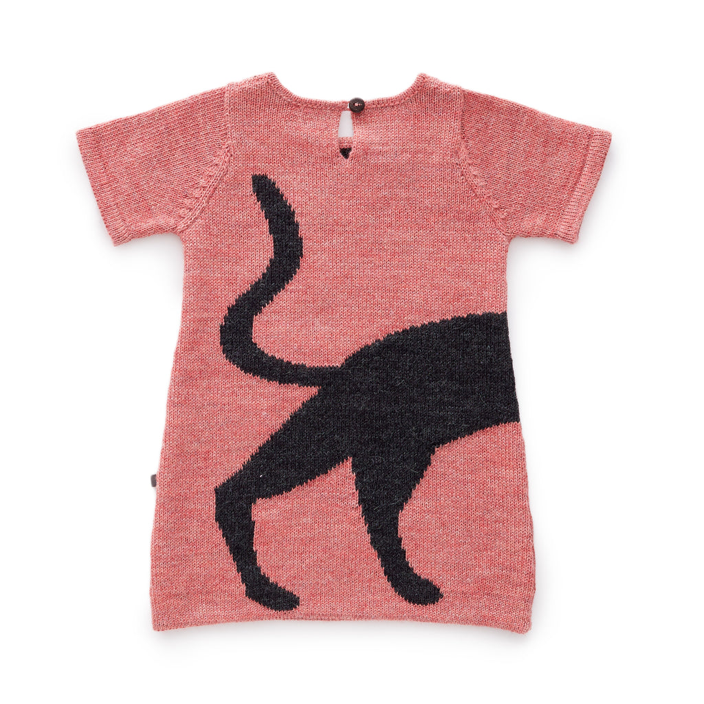 Super soft, super cute cat dress. Knit shift dress in 100% baby alpaca. Made in Peru.