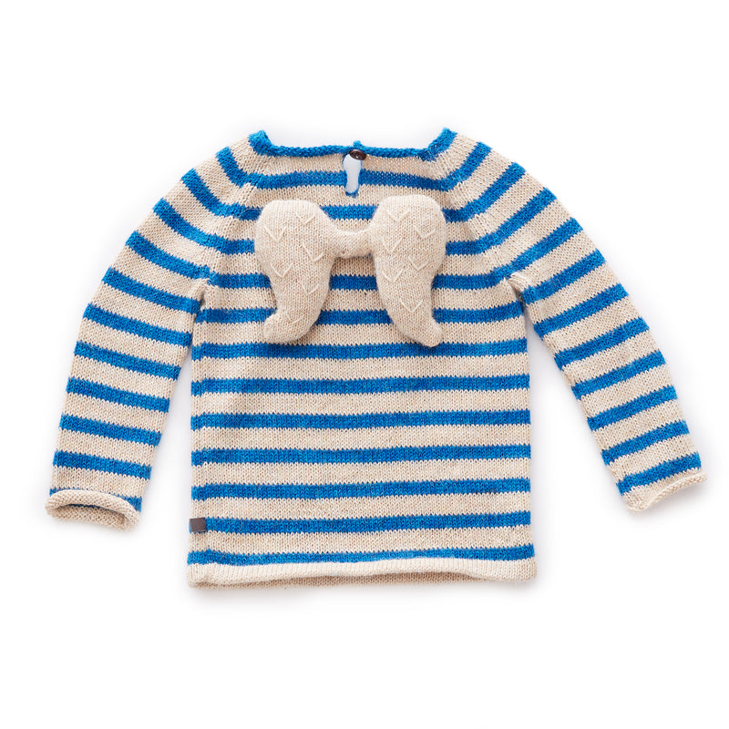 Hand-knit with luxuriously soft 100% baby alpaca wool, this adorable angel wing-designed sweater will keep your little one warm in chilly weather. Featuring a wooden button-closure and angel wings in the back.
