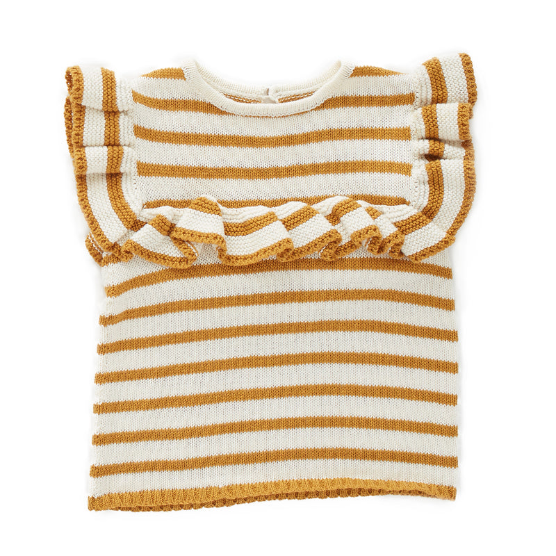Knitted top made from certified Alpaca wool with ruffled edges.