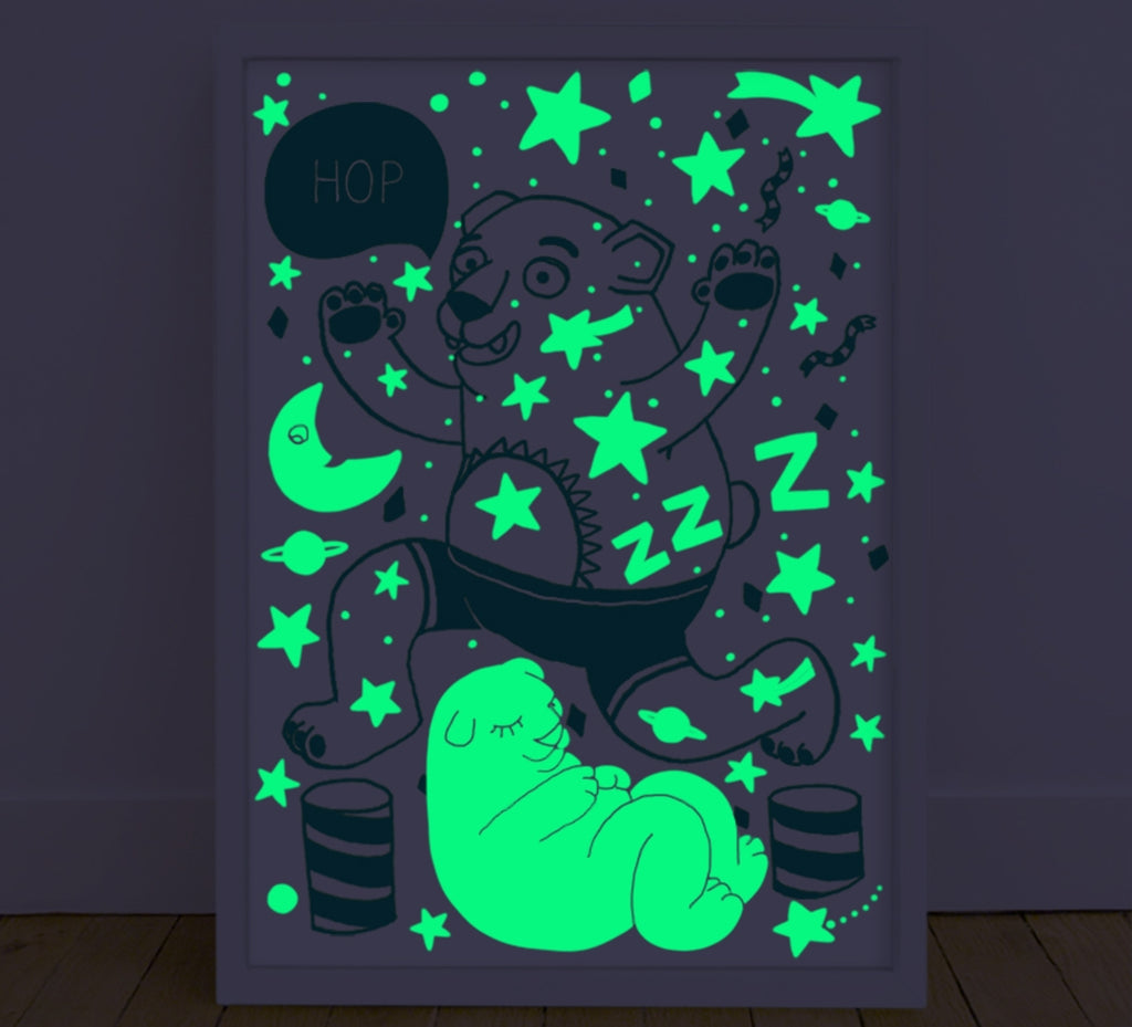 Glow In The Dark Poster Grizzly Bear
