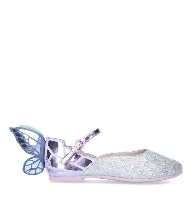 Chiara Silver Glitter Multi Butterfly Shoes