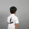 backview of boy wearing carbon soldier white campbell bird embroidery shirt
