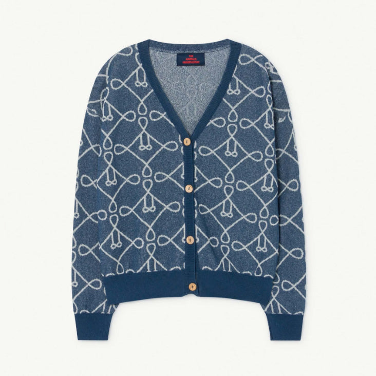 This blue cardigan is the stylish staple for your summer wardrobe with a fun, graphic print and accented buttons.