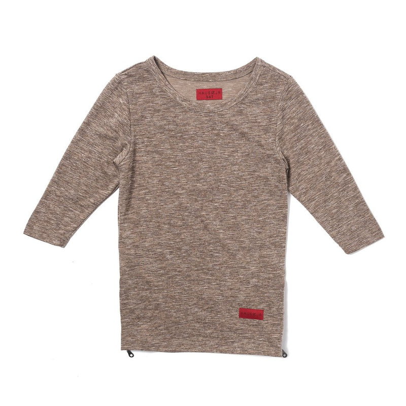 Heather Brown color long sleeve tee with cool side opening zippers.