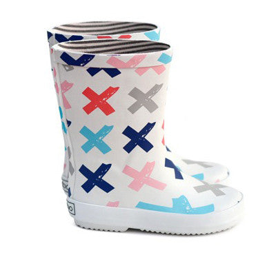 White Boxbo rain boots with red, pink, grey, blue cross pattern repeats. Inner boots lined with grey and white stripe fabric.