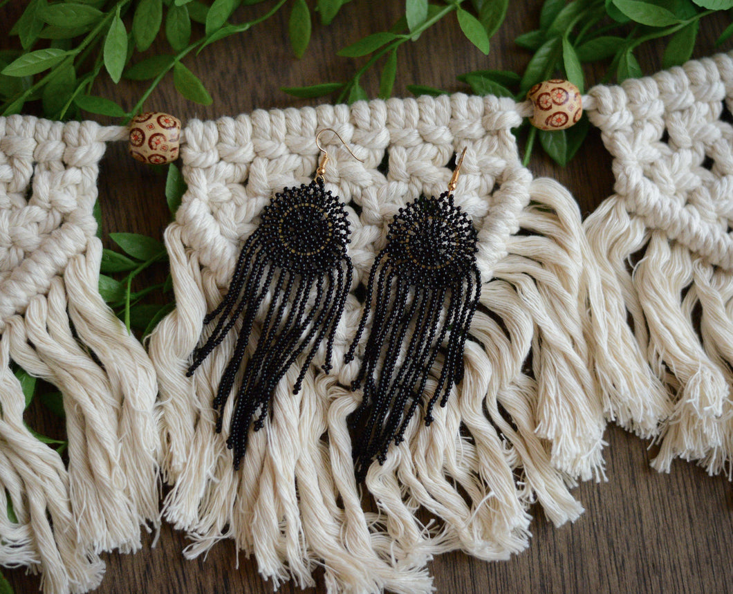 Beaded Dream Catcher Earrings in Black