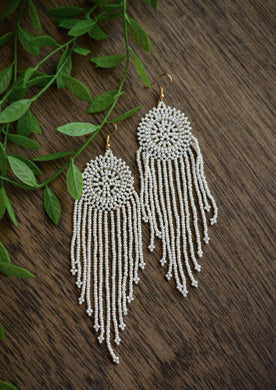 Beaded Dream Catcher Earrings in Ivory