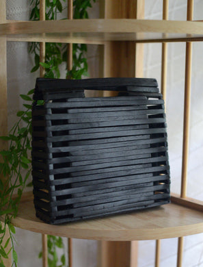 Handmade Black Wooden Clutch
