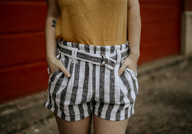 Kit Striped Paper Bag Shorts