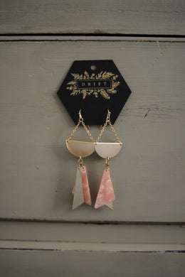 Blush Marble + Gold Earrings