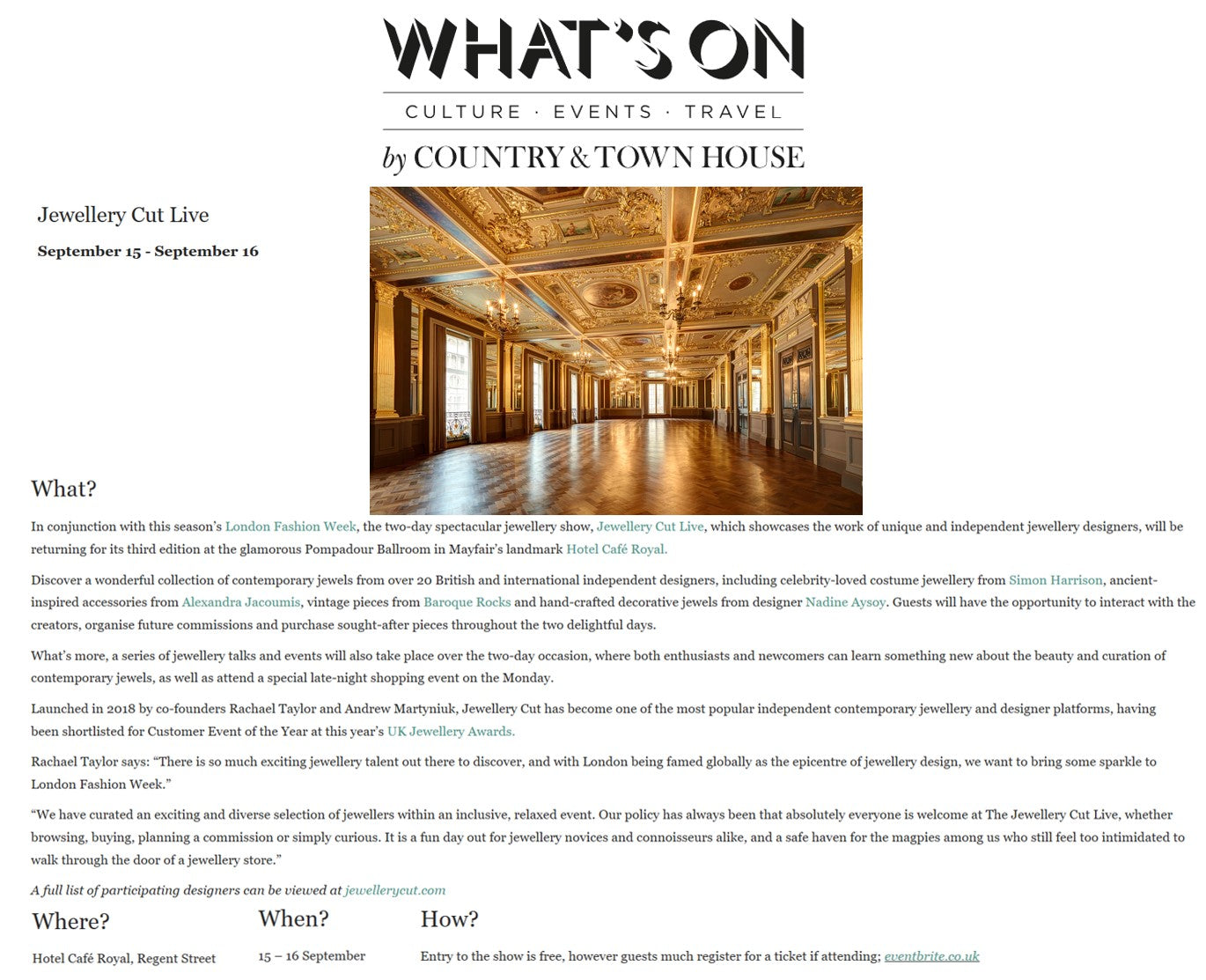 What's On by Country & Town House