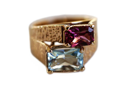 Baroque Rocks  9ct gold, aquamarine and pink garnet Astounding vintage ring £595, available at The Jewellery Cut Shop