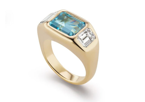 Brent Neale  18ct gold, aquamarine and diamond Gypsy ring price on application, available at Brent Neale