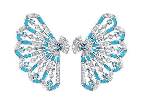 Garrard  18ct gold, aquamarine, diamond and turquoise inlay Fanfare Symphony earrings £17,000, available at Garrard