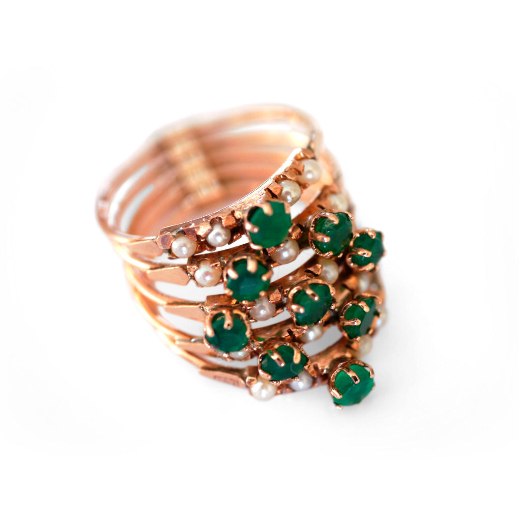 Exquisite Emerald & Pearl Cocktail Ring