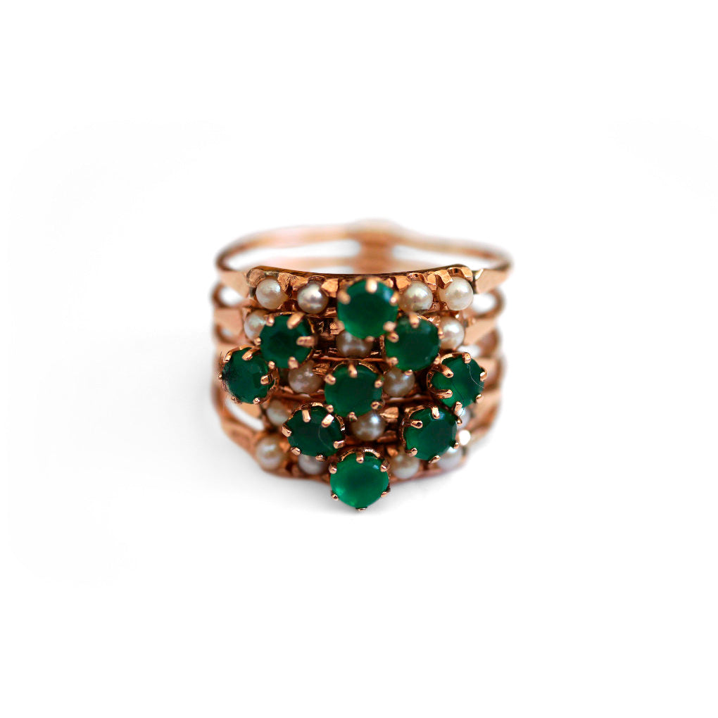 Exquisite Emerald & Pearl Vintage Cocktail Ring