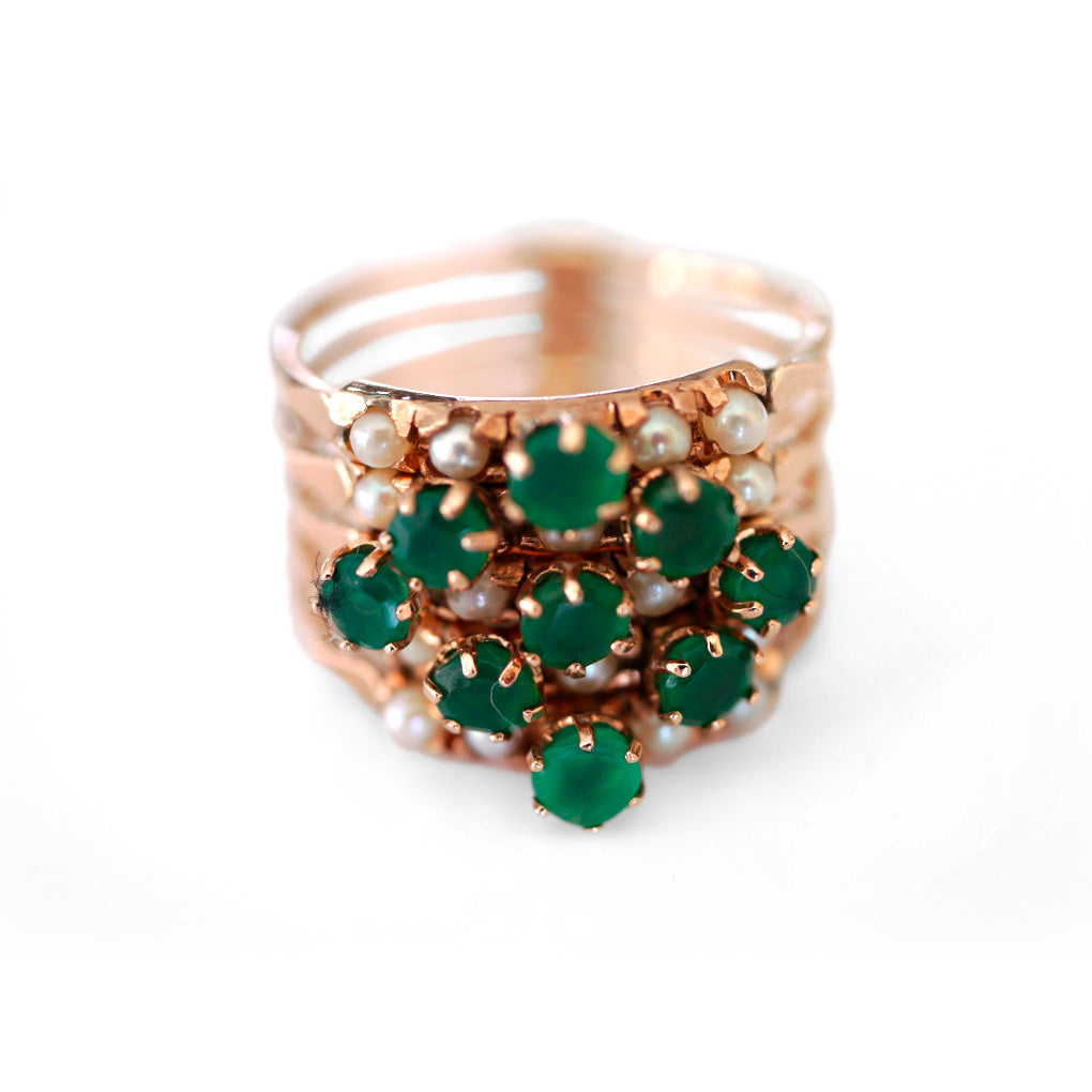 Vintage Emerald & Pearl Cocktail Ring
