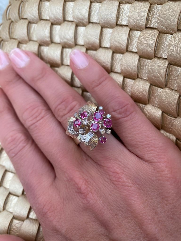 Ruby & Diamond Flower Cocktail Ring