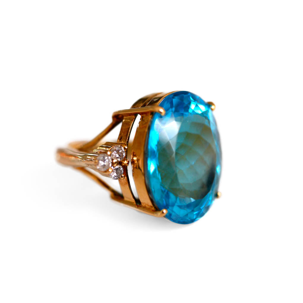 Vintage Blue Topaz & Dazzling Diamond Enormous Cocktail Ring