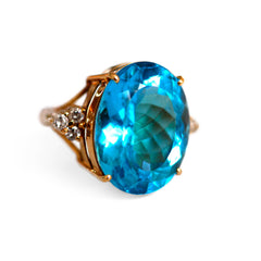 Blue Topaz & Dazzling Diamond Enormous Vintage Cocktail Ring