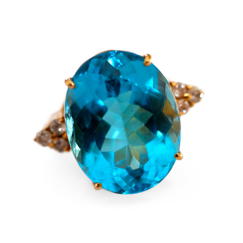 Blue Topaz & Diamond Vintage Cocktail Ring