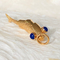 18K Lapis Lazuli Gold Articulated Fish Pendant
