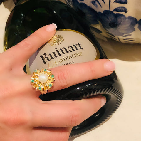 Emerald & Pearl Sunburst Cocktail Ring 1968