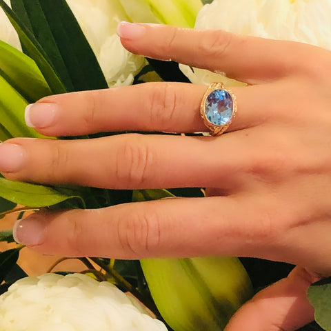 Blue Topaz Dress Ring 1970