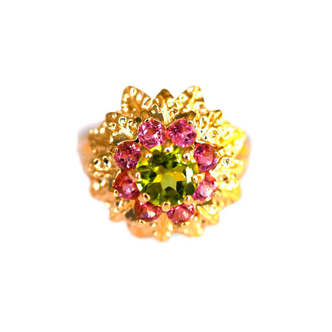 Peridot & Pink Tourmaline Dress Ring 1970