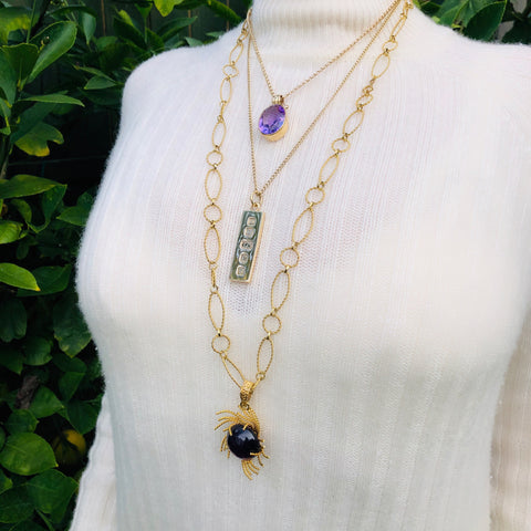 Layered Vintage Necklaces Alluring Amethyst Necklace