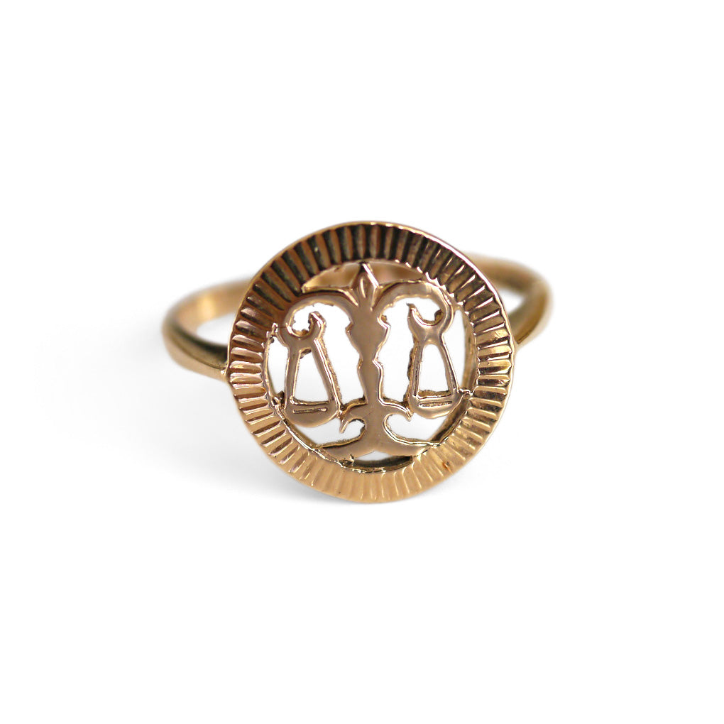 Vintage Gold Libra Dress Ring 1970s