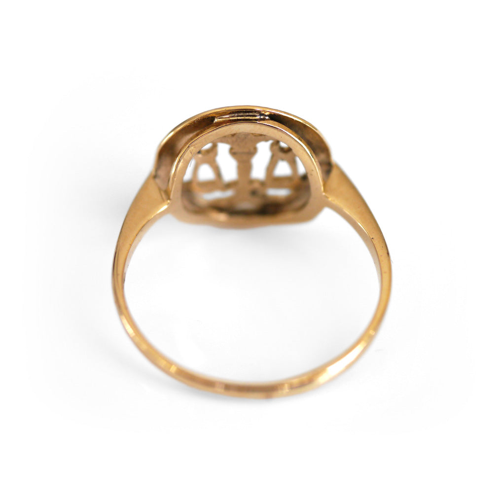 Vintage Zodiac Jewellery 1970s Gold Libra Dress Ring