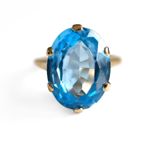 Blue Topaz Cocktail Ring 1970s