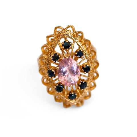 Magnificent Morganite & Sapphire Cocktail Ring 1970s