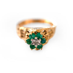 Emerald & Diamond Dress Ring 1970s