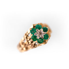 Vintage Emerald & Diamond Dress Ring 1970s