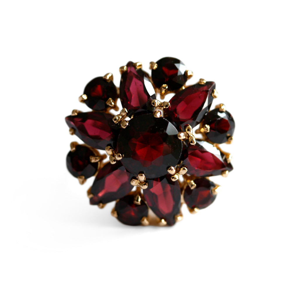 Glittering Garnet Cocktail Ring 1970s