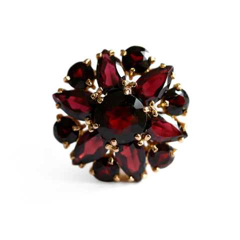 Vintage Glittering Garnet Cocktail Ring 1970s