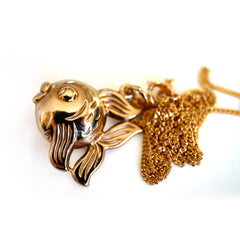 Gold Glorious Gold: 1977 Blow Fish Necklace