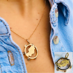 Gold Ibiza Tambourine Vintage Necklace