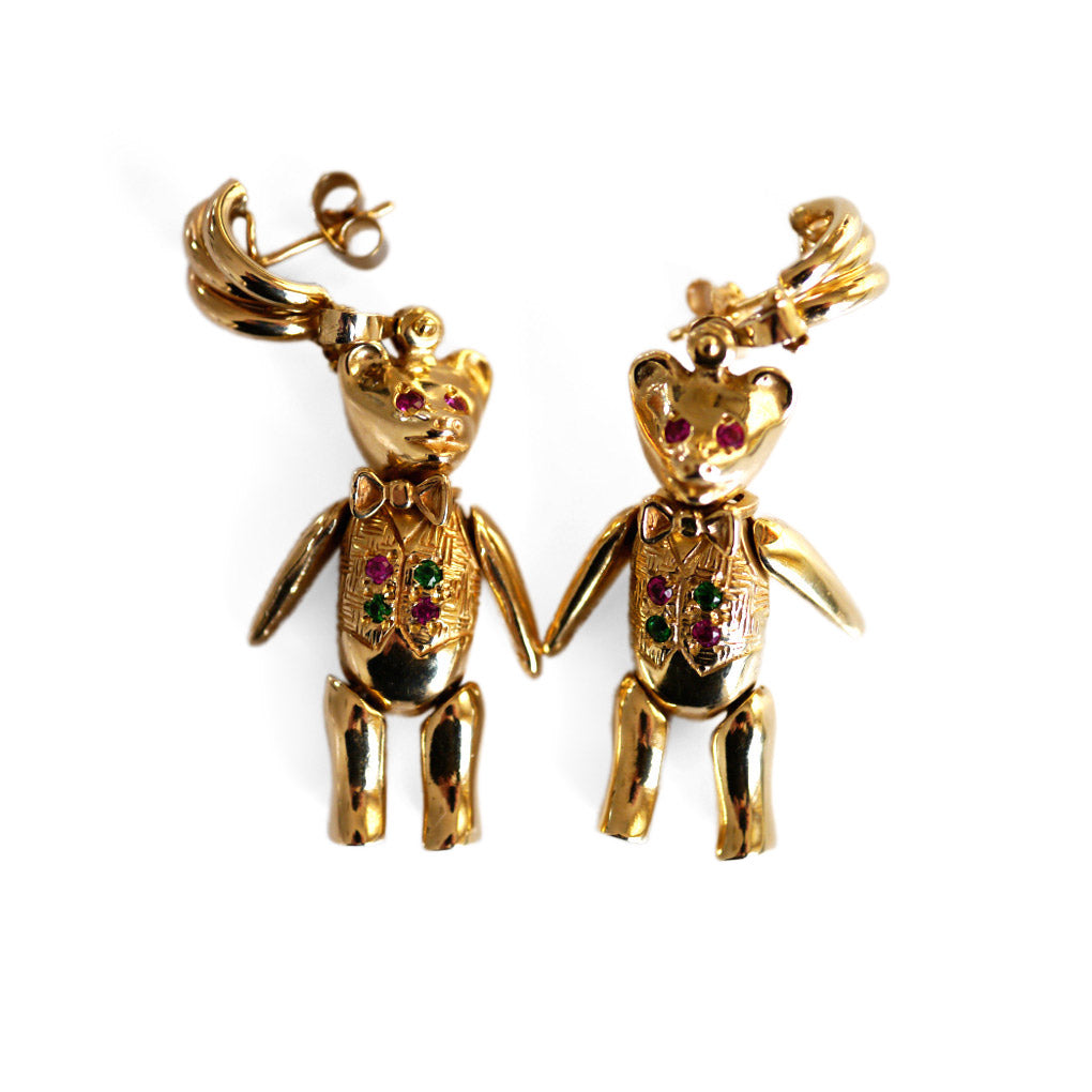 Artfully Articulated 1990s Trio of Bears Pendant & Earrings