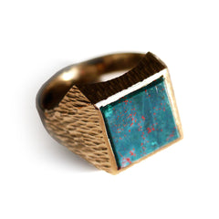 Swaggering Seventies Bloodstone & Barked Gold Ring