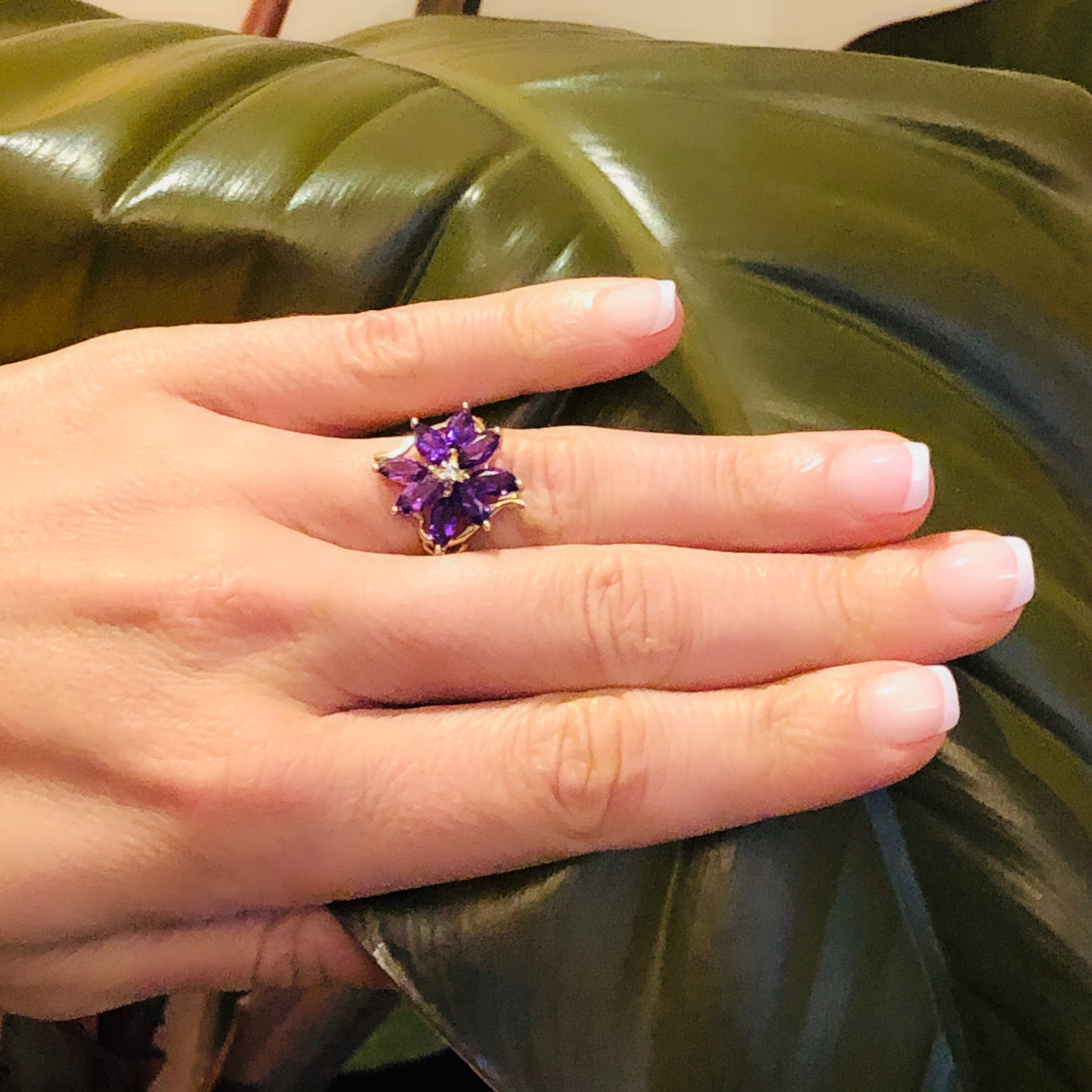 Amethyst and Diamond Flower Ring