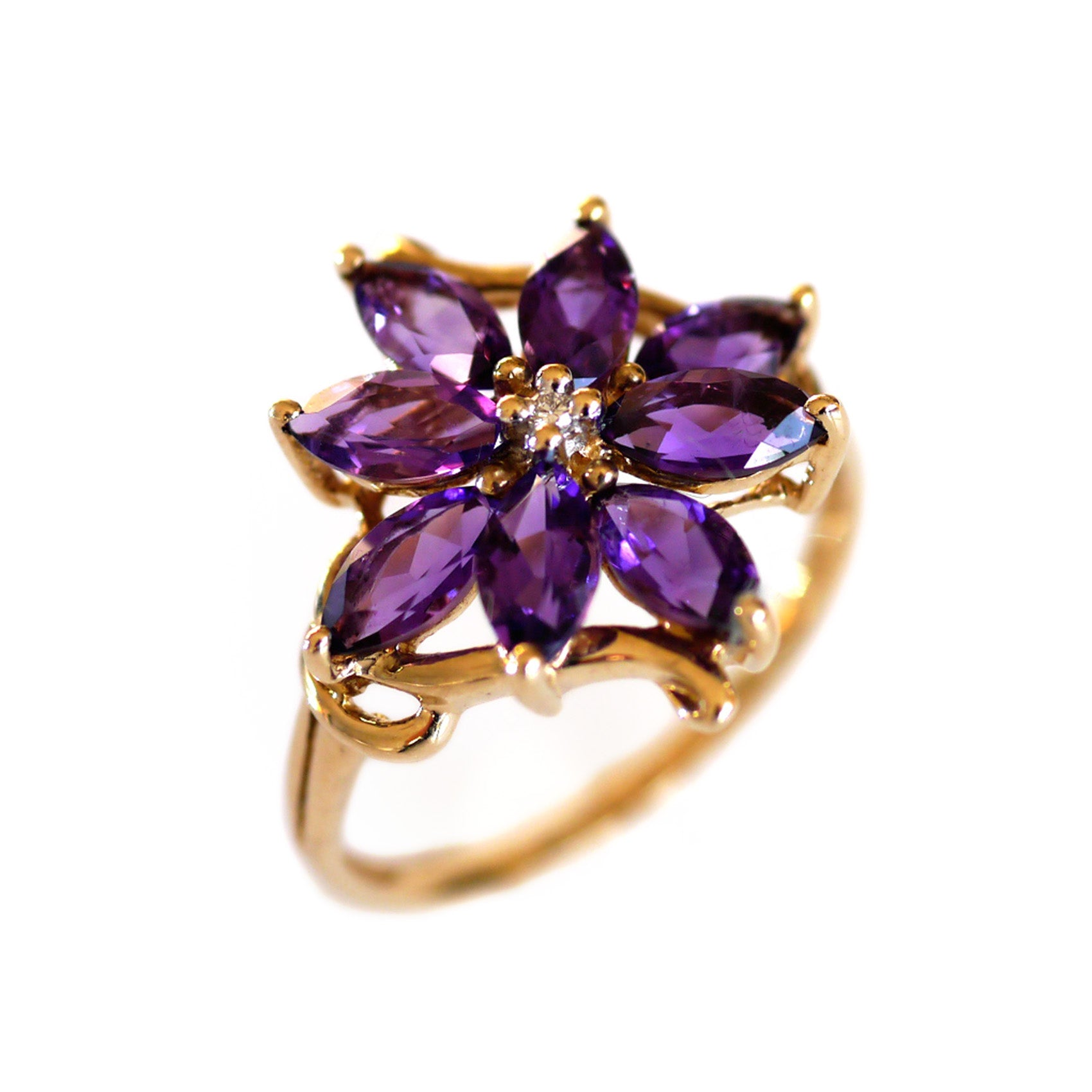 Vintage Amethyst and Diamond Flower Ring