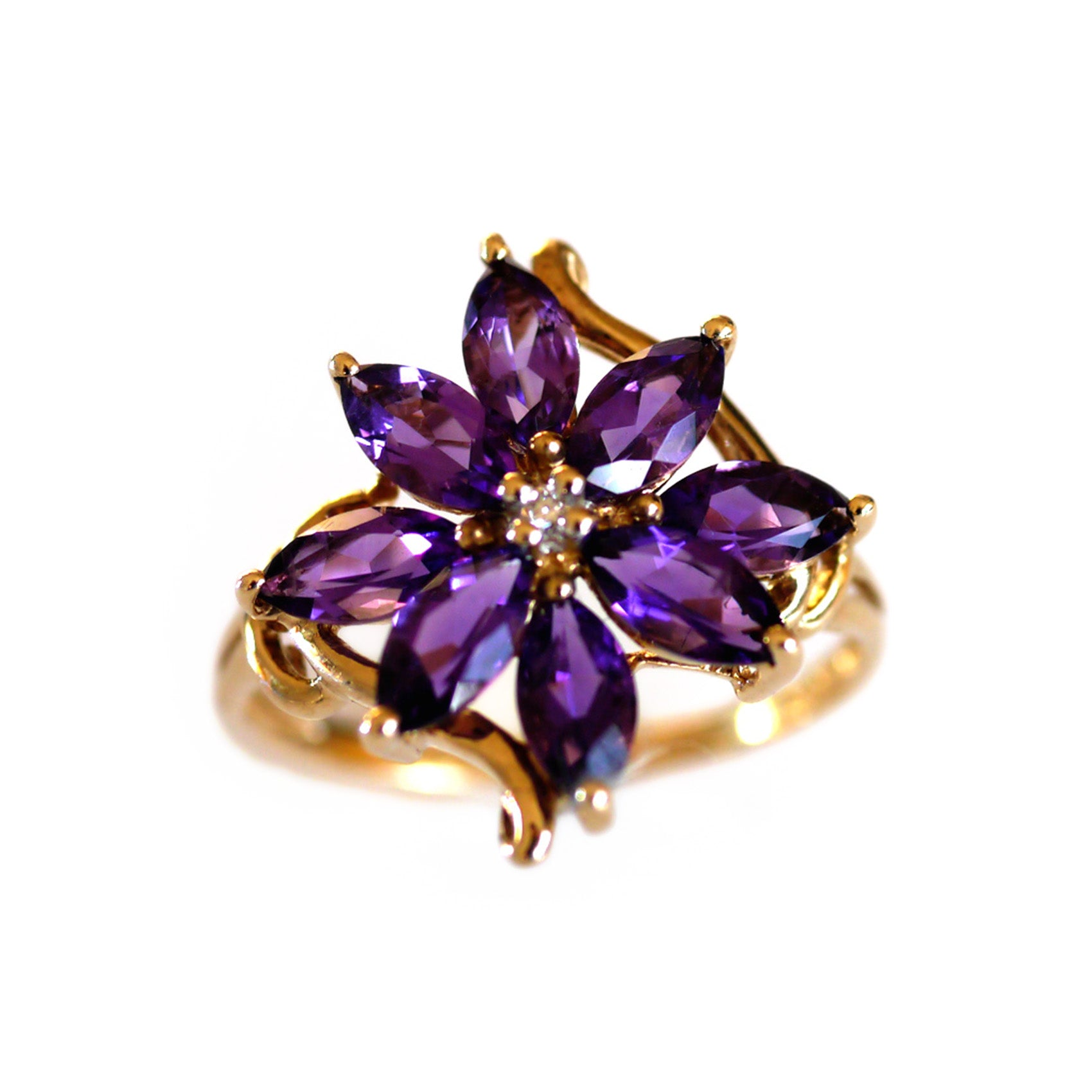 Amethyst and Diamond Flower Ring Vintage