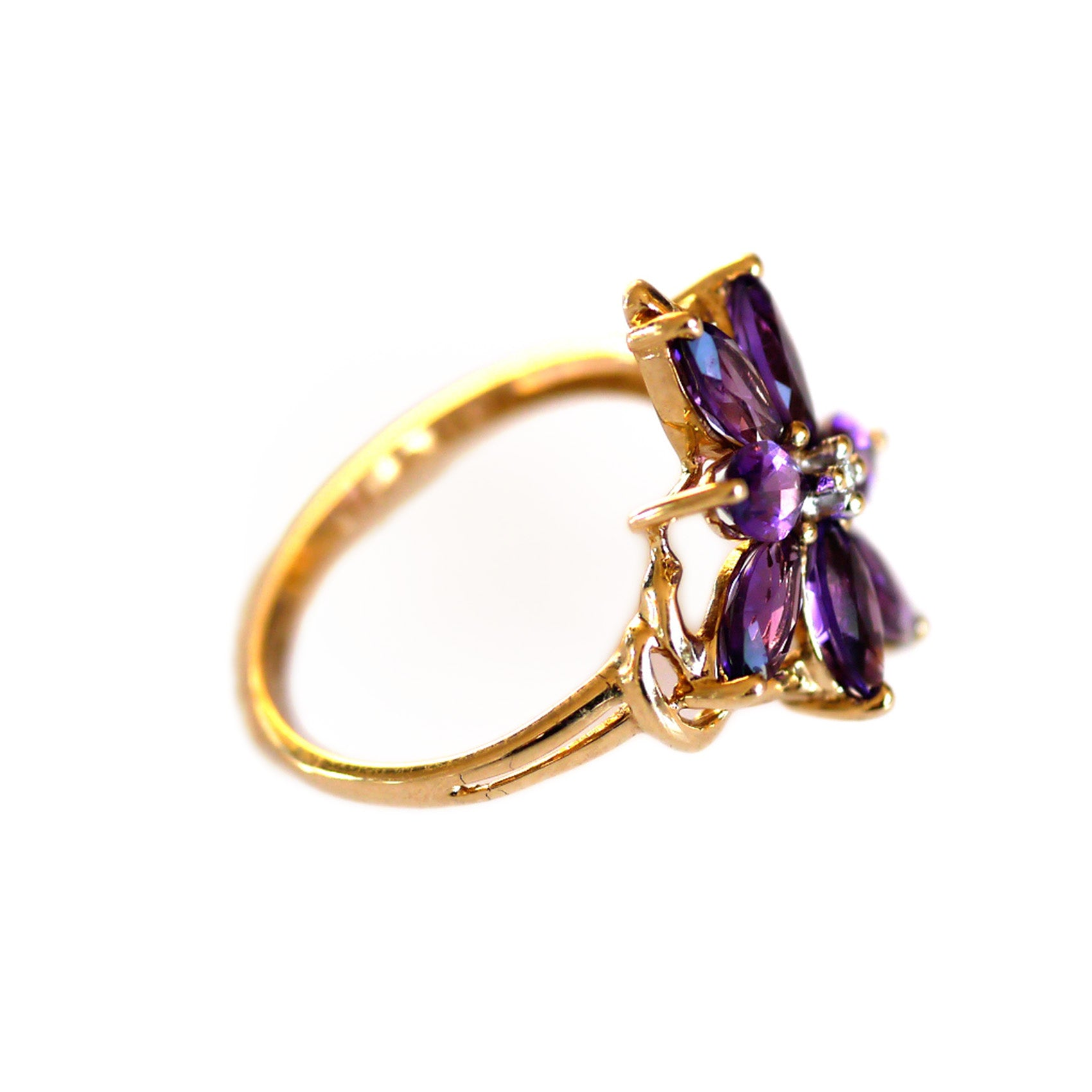 Amethyst and Diamond Vintage Flower Ring