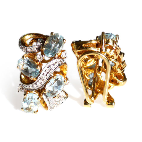 Astounding Aquamarine and Diamond Earrings