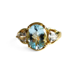 Astounding Aquamarine Ring & White Topaz Ring