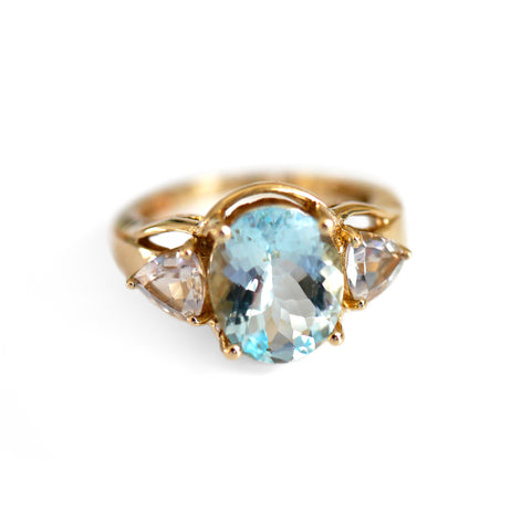 Aquamarine Ring & White Topaz Vintage Ring